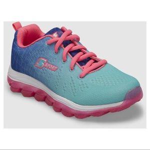 Girls SKECHERS Sport Sneaker Sz 1 aqua hot pink